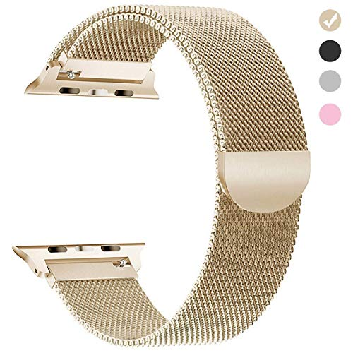 Tirnga Compatible with Apple Watch Band 38mm, iWatch Bands 38mm Milanese Loop Men Series 3 2 1 - Gold Men Watch Band