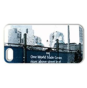 World Trade Center Rebuilding Site - Case Cover for iPhone 5 and 5S (Monuments Series, Watercolor style, White)