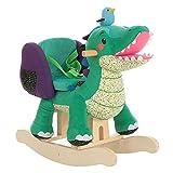 labebe Baby Rocking Horse Wooden, Plush Rocking Horse Toy, Green Crocodile Rocking Horse for Baby 1-3 Years, Wooden Baby Rocker Chair/Toddler Rocker Chair/Kid Rocker Seat/Soft Rocker Toy/Horse Rocker