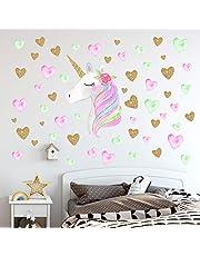 Unicorn Wall Decals,Unicorn Wall Sticker Decor with Heart Flower Birthday Christmas Gifts for Boys Girls Kids Bedroom Decor Nursery Room Home Decor-Unicorn
