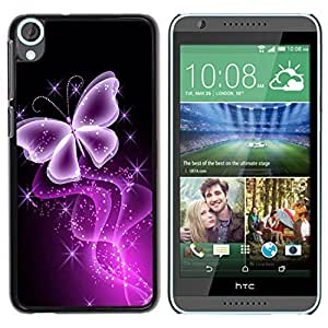 Be Good Phone Accessory // Dura Cáscara cubierta Protectora Caso Carcasa Funda de Protección para HTC Desire 820 // Butterfly Glitter Glittering Black Neon Purple