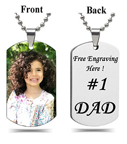 Interway Trading Personalized Rectangular Military shape Custom Photo High Polished Color Engraved Dog Tag Necklace Pendant with 24 inch Stainless Steel Chain, Velvet Giftpouch and Keyring -