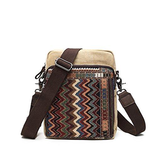 mefly el nuevo folk estilo bolso de piel de hombre, de lona bolsa de hombro para hombres y mujeres, Black grey beige
