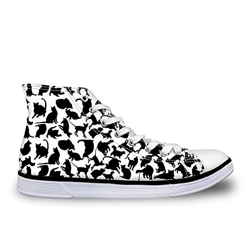 Bigcardesigns Cute Dogs Cats Silhouette Casual High Top Canvas Sneakers Cat Black White ooyv6Y0