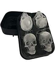 Stritra - 3D Skull Silicone Jello Ice Mold Flexible Cube Maker Tray for Halloween and Christmas Party. Best for Whiskey and Cocktails