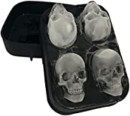 Stritra - 3D Skull Silicone Jello Ice Mold Flexible Cube Maker Tray for Halloween and Christmas Party. Best fo