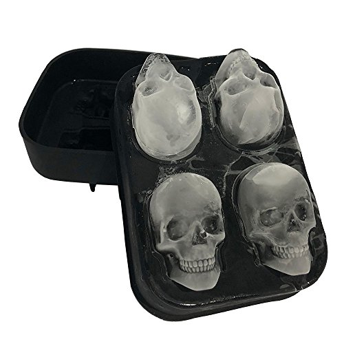 Stritra - 3D Skull Silicone jello Ice Mold Flexible Cube Maker Tray for Halloween and Christmas Party. Best for Whiskey and Cocktails -