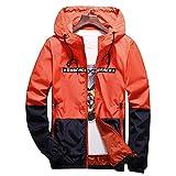 AITFINEISM Men's Lightweight Hooded Zip up Sports Jacket Windproof Windbreaker (Small, Orange)