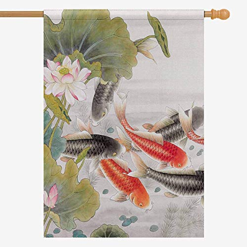InterestPrint House Flag Decorative Oriental Asian Ink Koi Goldfish Painting for Garden and Home Decorations, Oxford Cloth Double Sided House Banner 28 x 40 Inches (Without Flagpole)