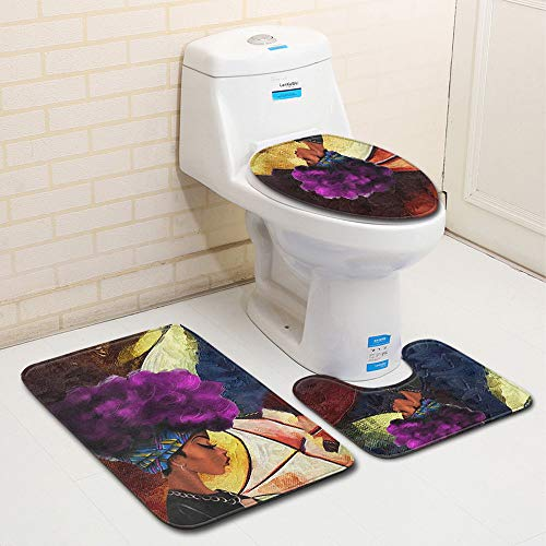 QuteFree Carpets 3PC Skid Proof Toilet Seat Cover Set for Women African Purple Hair Bath Mat Lid Cover Contour Rug, Home Decoration Blankets