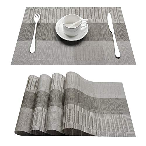 Top Finel Eco-friendly Colorful Rectangle Bamboo Plastic Place Mats Dining Table 12″ 18″ (Set of 8, Grey Silver)