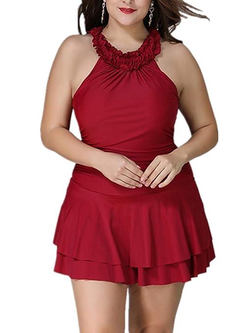 SLCN Bañador Mujer Más Tamaño,Moda Falda Corta Traje de Baño ...