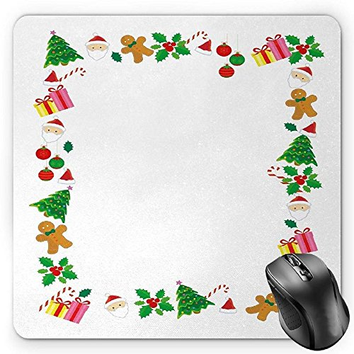 (BGLKCS Kids Christmas Mouse Pad, Colorful Border with Different Clip Arts Holiday Festivity Santa Trees Balls, Standard Size Rectangle Non-Slip Rubber Mousepad, Multicolor)