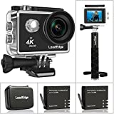 LeadEdge Action Camera 4K Ultra HD WiFi Sports Video Cam Waterproof DV Underwater Camcorder 16MP 30M Diving 4K/30FPS 1080P/60FPS 720P/120FPS 170° Wide Angle Lens With Monopod/Carrying Case/2 Battery