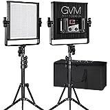 LED Video Light GVM 520LS CRI97+ TLCI97+ 18500lux Dimmable Bi-color 3200K-5600K Professional Light For Outdoor Interview Studio Portrait Photographic 2pcs Kit
