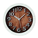 AENMIL Creative 3D Digital Non-ticking Clock, Retro Wood Pattern Decor Silent Desk Alarm Clock For Home Pub Dormitory Living Bedroom - White