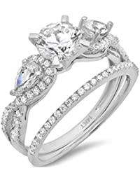 1.9 CT Round And Pear Cut Pave Halo Bridal Engagement Wedding Ring band set 14k White Gold