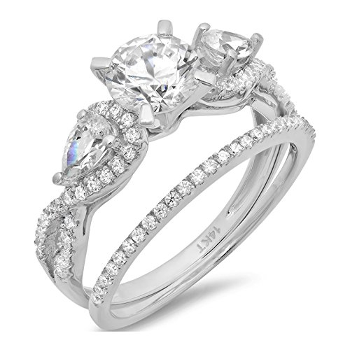 White Gold Bridal Ring - Clara Pucci 1.9 CT Round And Pear Cut Pave Halo Bridal Engagement Wedding Ring band set 14k White Gold, Size 7.75