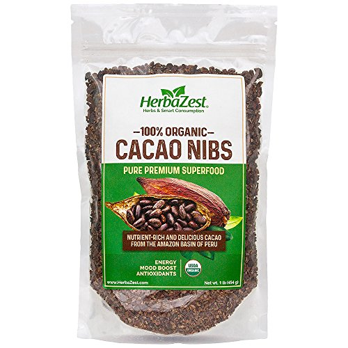 Price comparison product image 100% Organic Cacao Nibs | Delicious PREMIUM Peruvian Cacao | From the Amazon Basin | USDA Certified | NUTRIENT-RICH Mood and Energy Booster | 16 oz. Bag | HerbaZest