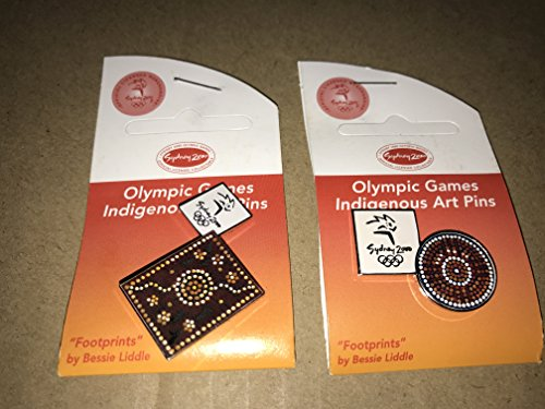 SET OF 2 INDIGENOUS ART FOOTPRINTS FOOT SYDNEY OLYMPIC GAMES 2000 PIN BADGE (Pins Olympic Sydney)