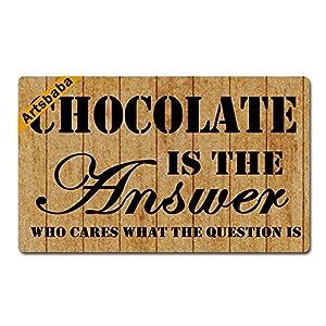 Artsbaba Doormat Chocolate Is The Answer Who Cares What The Question Is Door Mat Monogram Non-Slip Doormat Non-woven Fabric Floor Mat Indoor Entrance Rug Decor Mat 30 x 18 Inches