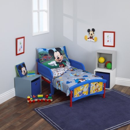 4 Piece Kids Blue White Mickey Mouse Toddler Bed Set, Yellow Red Disney Goofy Bedding Daffy Duck Comforter Stars Music Pattern Geometric Star Design Movie Character Television Kids Bedroom, Polyester
