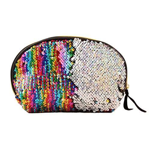 Multicolor Zipper Wallet Cluthes Women Bag Lavany Handbag Bag Color Women Sequins Double for cB7wBFYgq