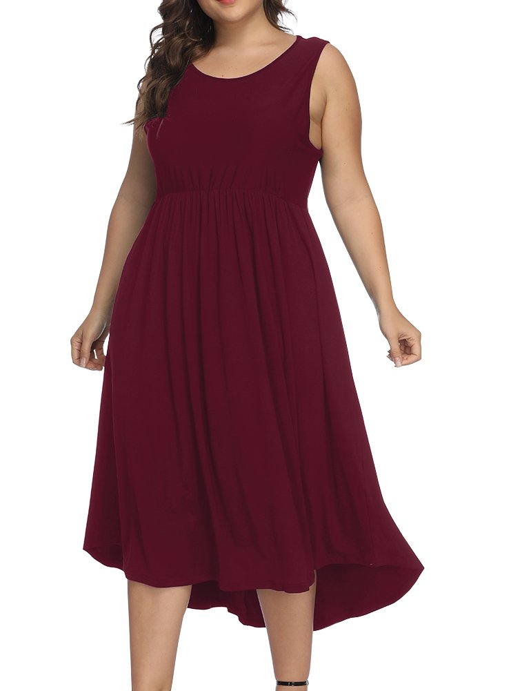 Allegrace Women Plus Size Sleeveless Casual Cocktail Dress Pleated Party Long Dresses Wine Red 3X