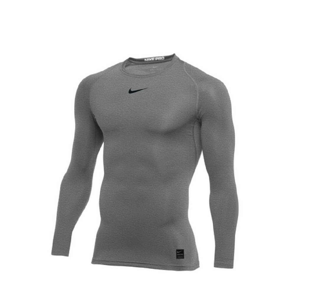NIKE Pro Long Sleeve Compression Top (Carbon Heather) (M)