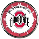 Ohio State Buckeyes NCAA 12 Inch Round Chrome Plated Wall Clock