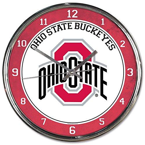 Ohio State Alumni Bar - Ohio State Buckeyes NCAA 12 Inch Round Chrome Plated Wall Clock