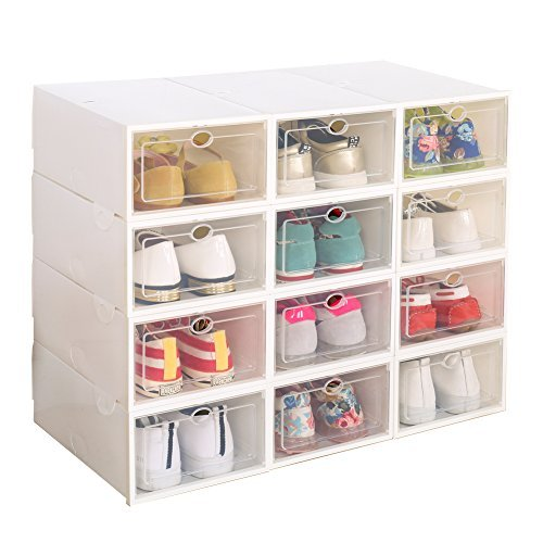 IRONLAND Clear Plastic 12 Pack Stackable Storage Shoe Box White ()
