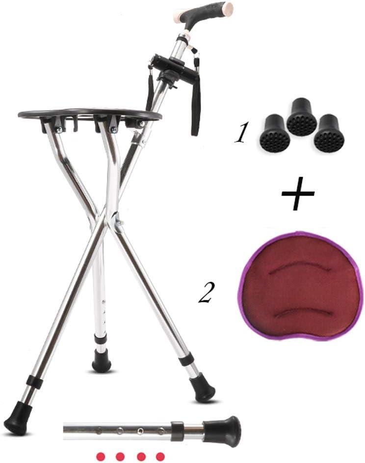 Ayuda Médica Plegable Baston con Asiento - Taburete/Silla Camina Plegable, Regulable En Altura /, 4 Gear Ajuste/Carga Estática 200kg