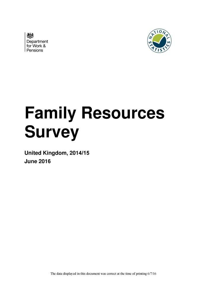 Download Family Resources Survey United Kingdom 2014/15 PDF
