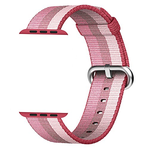 MXY Fine Woven Nylon Watch Band Strap Replacement Wrist For Apple iWatch Series 1 Series 2 (42mm-Berry)