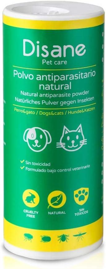 polvos anti parasitarios para animales, mascotas, perros gatos, bote verde disane