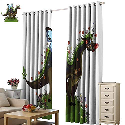 Beihai1Sun Curtain Waterproof Polyester Fantasy Butterfly Riding A Funny Dragon with Flowers Kids Nursery Cartoon Army and Olive Green Blue Home Decor Wall Carpet Drapes W72 x H45 -