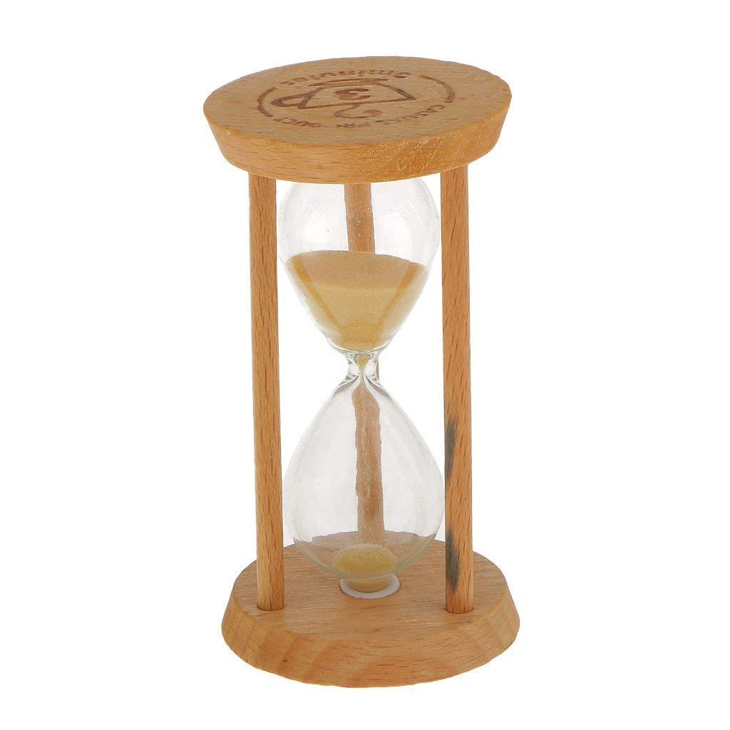 DDG EDMMS 3 Minutes Sable minuterie Jouet Enfant sablier minuteur précis Brosse à Dents de Cuisson Cuisson de la Cuisine d'horloge de Sable avec Bois Jaune Standard