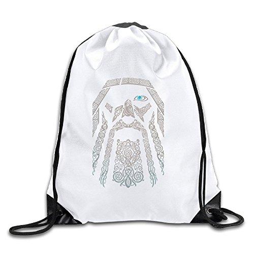 Odin Eye In The Dark White Drawstring Backpack Sport Bag For Men   Women