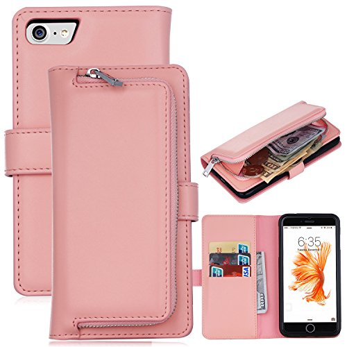 iPhone 7 Wallet Case, Amicool Magnetic Detachable Wallet Zipper Flip PU Leather Case Cover with Strap and Credit Card Slot For Apple iPhone 7 (4.7 inch) (Pink) (Louis Vuitton Iphone 4 Cover compare prices)
