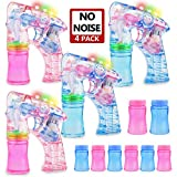 MAPIXO Light Up Bubble Gun 4 Pack with 8 Bubble Solution(No Noise), Prefect LED Bubble Blaster Shooter Blower Machine Set for Ideal Theme Party Favors, Outdoor Summer Game for Kid Child boy and Girl