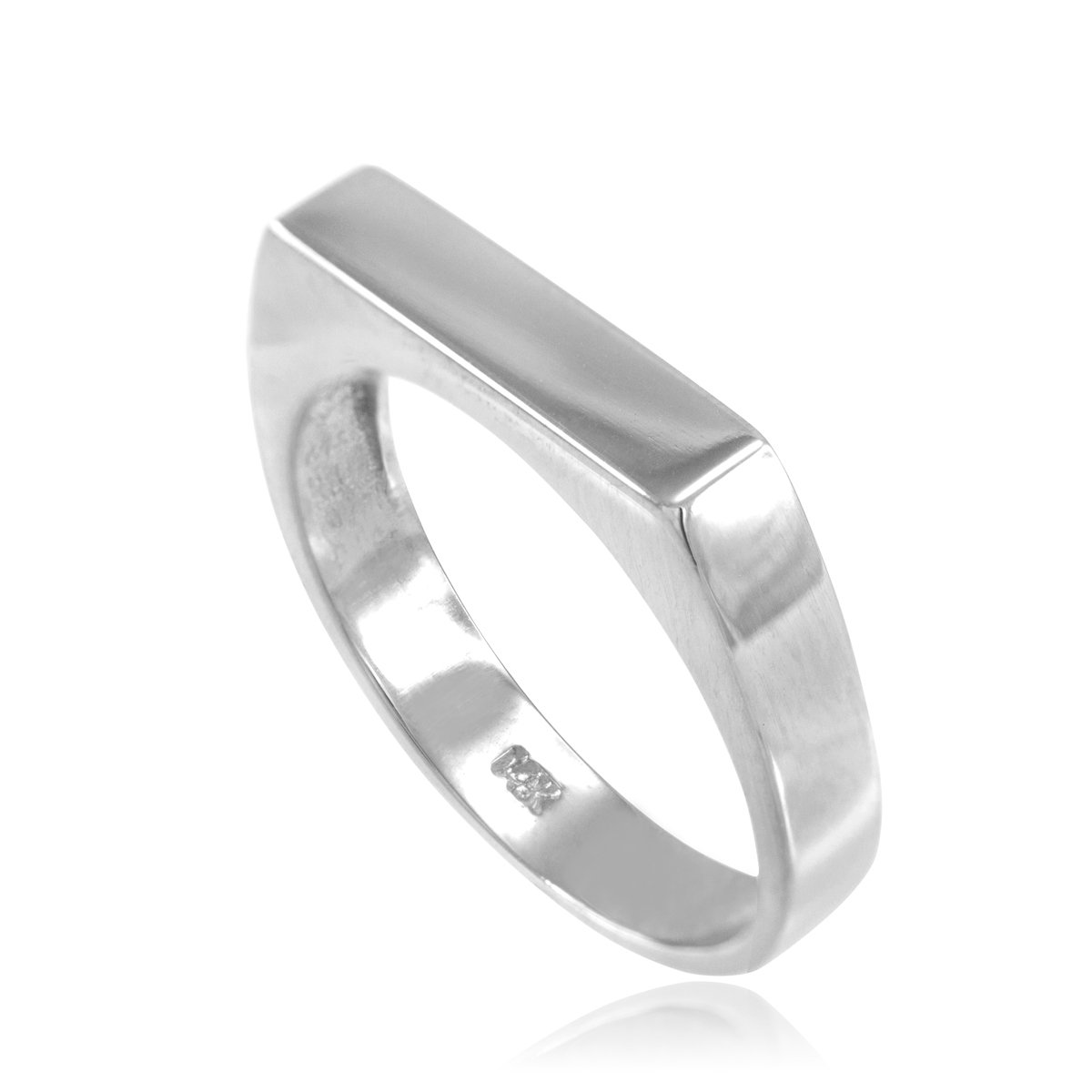 Stackable 14k White Gold Custom Engravable Flat Top Signet Ring (Size 9)