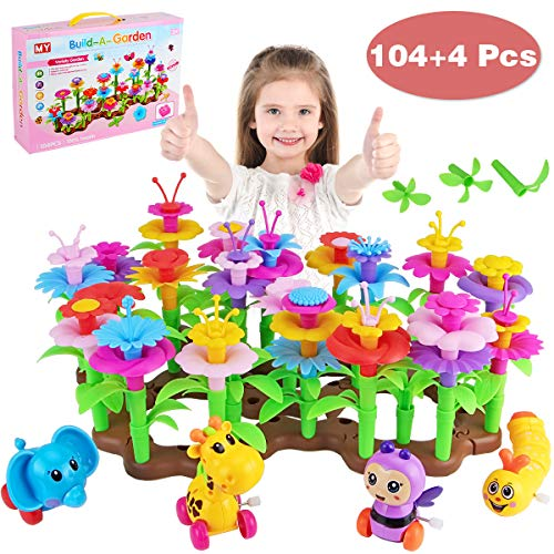 Flower Garden Building Toys for Girls, Aitey Kid Gardening Set with 4 Wind-Up Toys for 3, 4, 5, 6 Year Old Toddler…