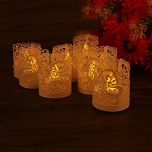 - 50 PCS Flameless Tea Light laser cut decorative wraps Candles Holders for Flickering LED Battery Tealight Candles by Mishen Elec Candle (white)