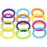 Wishtime Texture Learning Baby Rattle and Teether Ring O' Links Rattle Developmental Toy Lots of Links Accessory