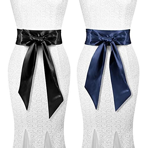 Women Dress Belts for Wedding Party Long Sash Satin Wide Waist Belt Special Occasion 3.74 '' Wide Set of 2 JASGOOD (Black+Blue)