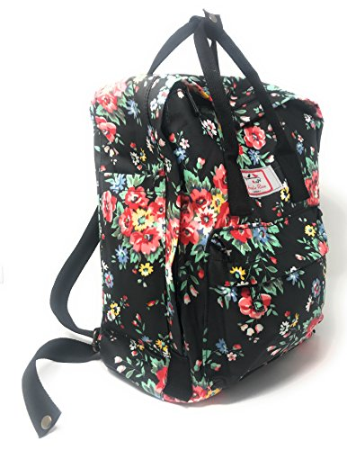 Floral Gym Casual Backpack Vintage inspired Ladies London flower Amelia Rose Park Retro Picnic Black Canvas Holiday Travel Rucksack Bag Beach 60qw8qT