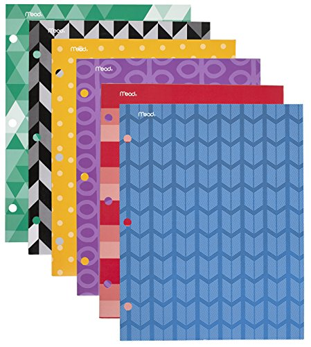 Mead Commodity Fashion 2-Pocket Folder, Design Will Vary, 6 Pack