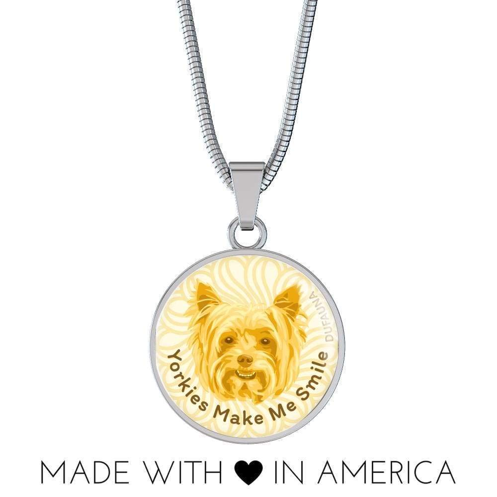 DuFauna Yellow//White Yorkies Make Me Smile Necklace D19 Steel or 18k Gold Finish Many Colors 18-22