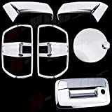 A-PADS Chrome Covers Combo Set For Chevy SILVERADO 1500 2014 2015 & 2500HD/3500HD 15-2016 - Top Half Mirrors + Gas Door Smooth/Flat for #22776830 + Tail Lights SOLID Center + Tailgate WITH Keyhole